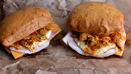 Kota (Township Burger) with Atchar, Ham and Egg
