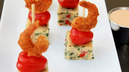 Crumbed Prawns and Imifino with a Sweet Chilli Dipping Sauce