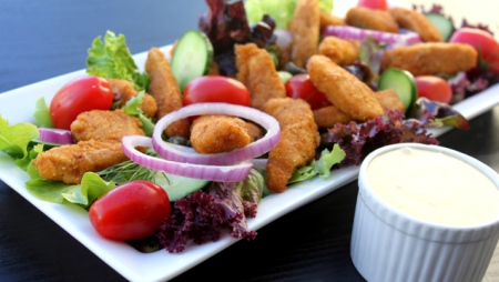 Crumbed Chicken & Herb Salad with Cheesy Mayonnaise Dressing
