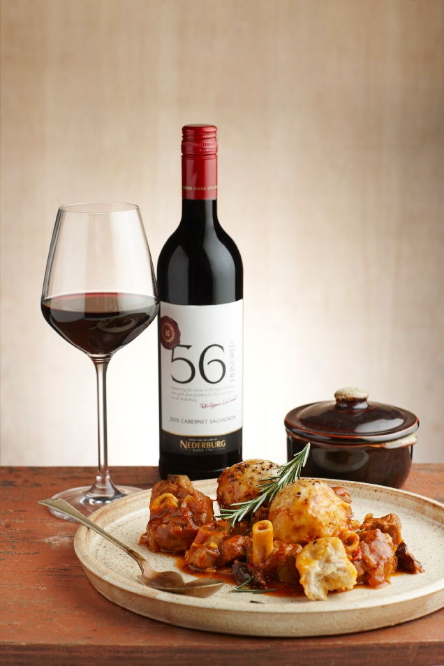 Nederburg 56Hundred Cab Sauv and lamb knuckles with dumplings and prunes HR