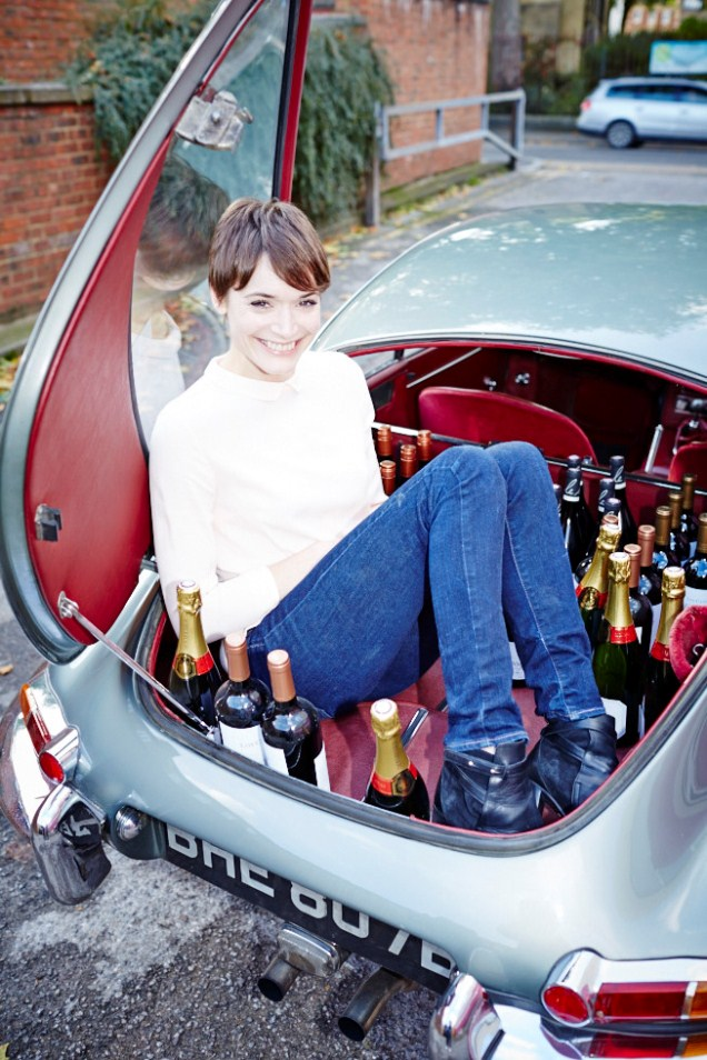 Ruth Spivey in boot with wine