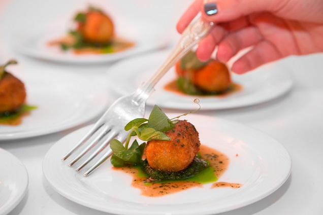 Braised Usana brisket croquette, salsa verde and anchovy butter.
