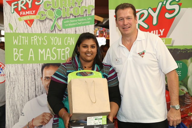 Trishna Pillay, winner at Phoenix Cook-Off with Tim Hedges, MD of Fry's