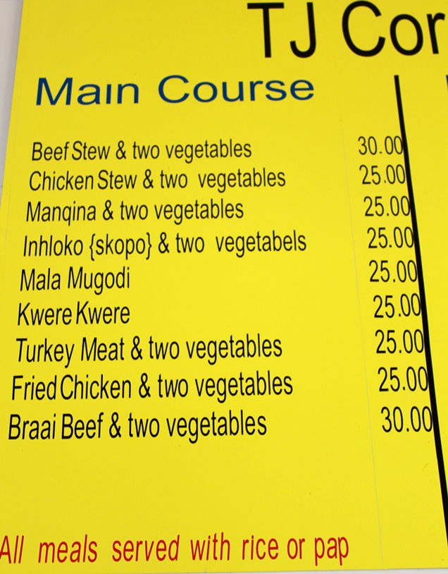 Menu at TJ Corner, Sabie