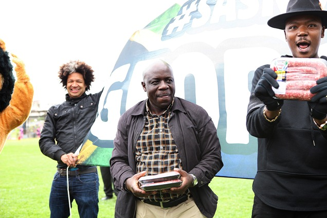 Marc Lottering, George Baloyi and Tol Ass Mo share in the joy at the Championship Boerewors Winner announcement