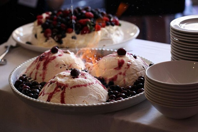 Christmas Pudding Covered in Ice Cream